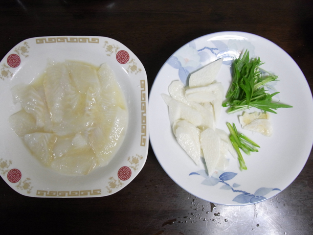 魚と山芋の炒め@みずな添え‐材料